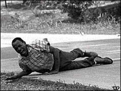 James Meredith shot and wounded on the ground