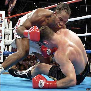 Lewis and Klitschko tumble to the canvas