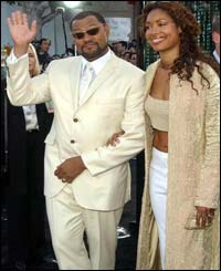 Laurence Fishburne with wife Gina