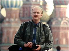 Ken Hawkins on assignment in Moscow, 2000