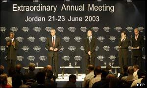 Kofi Annan, Colin Powell, Igor Ivanov, y el canciller griego George Papandreou