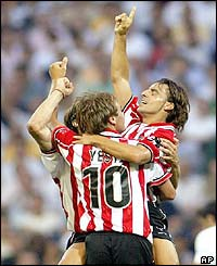 Athletic Bilbao's Yeste and Vitor Alkiza celebrate after scoring their first goal