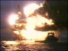 Piper Alpha oilrig ablaze
