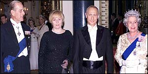 Prince Philip, Lyudmila and Vladimir Putin and the Queen