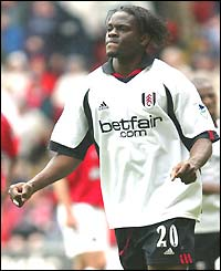 Louis Saha celebrates putting Fulham ahead against Charlton
