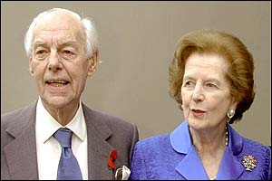 Baroness Thatcher and her husband Sir Denis at Churchill College, October 30, 2002