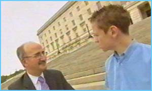 Northern Ireland kids' commissioner Nigel Williams with interviewer Neil Campbell
