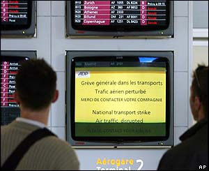 Passenger information screens at Charles de Gaulle airport, near Paris