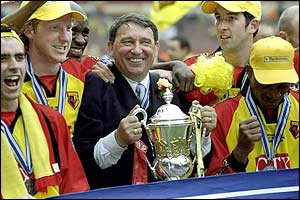 Graham Taylor celebrates Watford play-off win in 1999