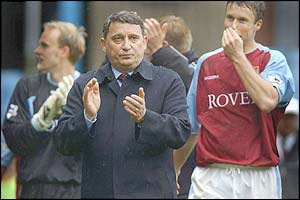 Graham Taylor claps the Aston Villa fans