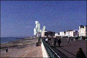 Computerised vision of the towers seen from Brighton