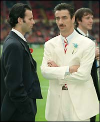Manchester United winger Ryan Giggs and Liverpool striker Ian Rush before the 1996 FA Cup final
