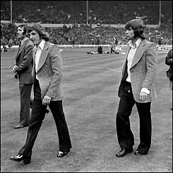 Newcastle's Alan Kennedy and Malcolm MacDonald before the 1974 final against Liverpool