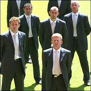 Southampton players model their Cup final suits
