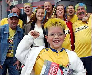 A group of Southampton fans are in good spirits outside the Millennium Stadium