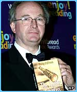 Philip Pullman with his prize-winning The Amber Spyglass