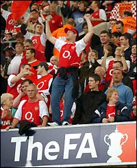 Arsenal fans make themselves heard inside the Millennium Stadium