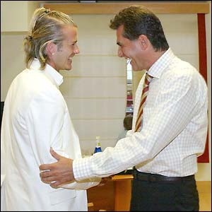 Real Madrid's new midfielder David Beckham and new coach Carlos Queiroz