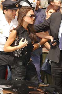 Victoria Beckham arrives at the Fenix Hotel in Madrid