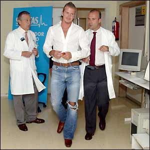 David Beckham arrives for his medical in Madrid