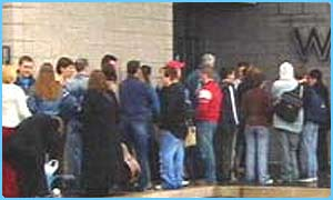 Hopefuls queue at the Fame Academy auditions