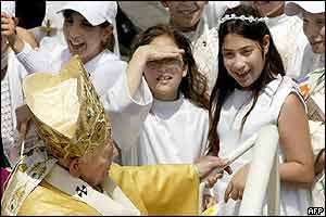 Pope John Paul II speaks with children