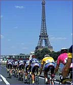 The riders approach the Eiffel Tower in Paris