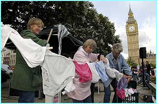 These pro-hunting protestors have made a petition out of pants - a pantition?- to bring to Westminster