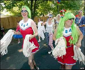 Members of the Zany Band march during a parade in Avondale Estates, Georgia