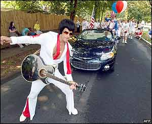 An Elvis Presley impersonators in Avondale Estates, Georgia