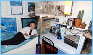 Glen inside the shed with all his gadgets