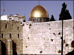 The Dome of the Rock and the Wailing Wall in Jerusalem
