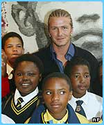 Becks also met lots of school children in South Africa