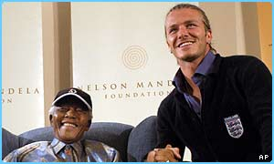 David Beckham said it was an honour to meet Nelson Mandela