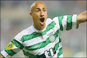 Larsson celebrates his 200th goal for the club