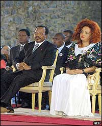 Cameroonian president Paul Biya (left) and Foe's wife Chantal (right) during the church service