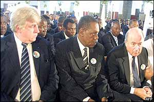 Fifa's chief Sepp Blatter (right) and President of the African Football Confederation Issa Hayatou (centre) during the church service