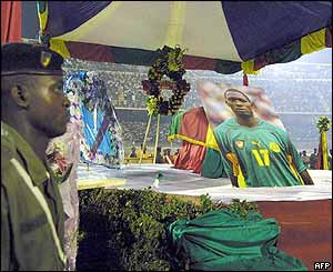 The national mourning ceremony in Amadou Ahidjo stadium, home to Cameroon's Indomitable Lions, on 6 July.