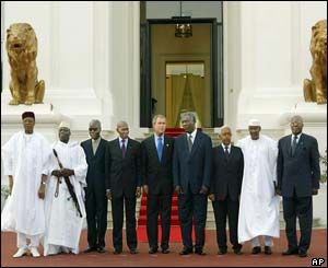President Bush and the West African leaders on the steps of the presidential palace