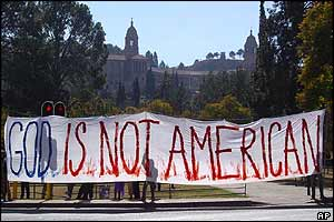 Anti-Bush banner in South Africa