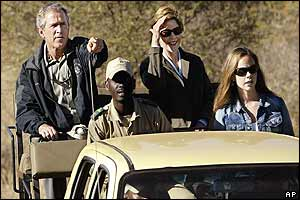 The Bush family on safari