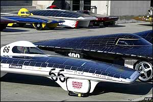 Solar powered cars line up before the race begins at Chicago's Museum of Science and Industry