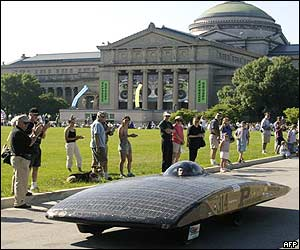 Solar-powered car outside  Chicago's Museum of Science and Industry