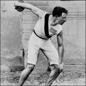 Robert Garrett, of the USA wins the gold in the discus at the 1896 Athens Olympics