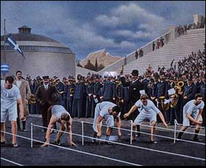 Athletes in the 100 metres final await the firing of the starters gun at the 1896 Olympic Games held in Athens, Greece