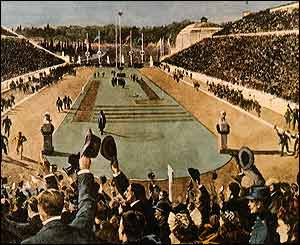 A painting shows Spiridon Louis of Greece winning the first Olympic marathon in 1896