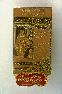 The commemorative pin from the 1896 Athens Olympic Games on display at the IOC Olympic Museum in Lausanne, Switzerland