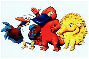 Bird Ollie, platypus Syd and hedgehog from Sydney 2000