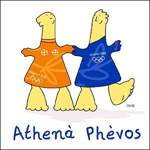 Athena (left) and Phevos, the mascots for the Athens 2004 Olympics