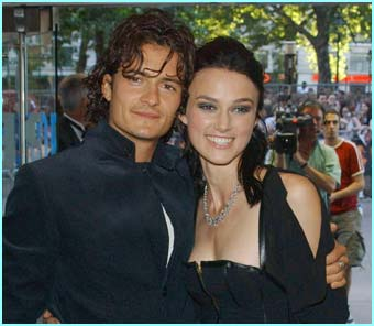 First to turn up are the stars of the movie, Orlando Bloom and Keira Knightly